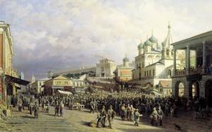 Верещагин Петр (1836-1886) Рынок в Нижнем Новгороде. 1872. Холст, масло. 90х140 см