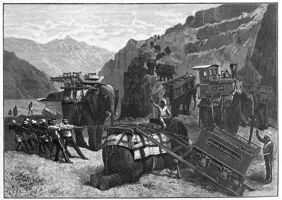Военные приготовления англичан во время конфликта. Переносная железная дорога системы Дековилля.