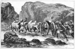Военные приготовления англичан во время конфликта. Перевозка индийцами орудий через Боланский проход.