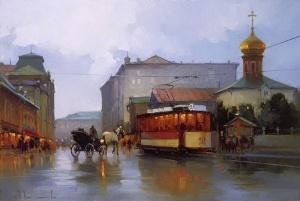 Улица Мясницкая. Московские пейзажи худ. А. Шалаева