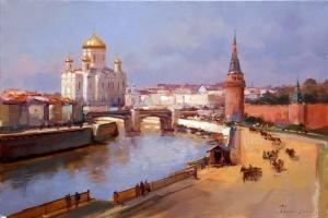 Кремлевская набережная. Вид в сторону Храма Христа Спасителя. Алексей Шалаев