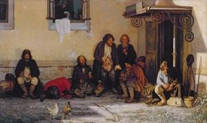 Земство обедает 1872 масло, холст Григорий Григорьевич Мясоедов (1834-1911)