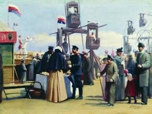 Константин Егорович Маковский: Московские балаганы Холст масло