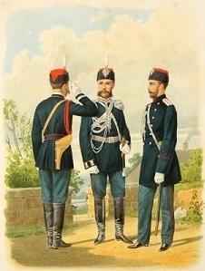 Корпус Жандармов. Штаб-офицер в парадной форме, Обер-офицер в сюртуке и Унтер-офицер в парадной и обыкновенной форме. 1884 г.