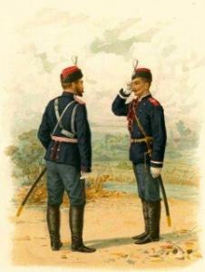 Отдельный Корпус Жандармов. Обер-Офицер и Вахмистр (в парадной форме). 1887 г.