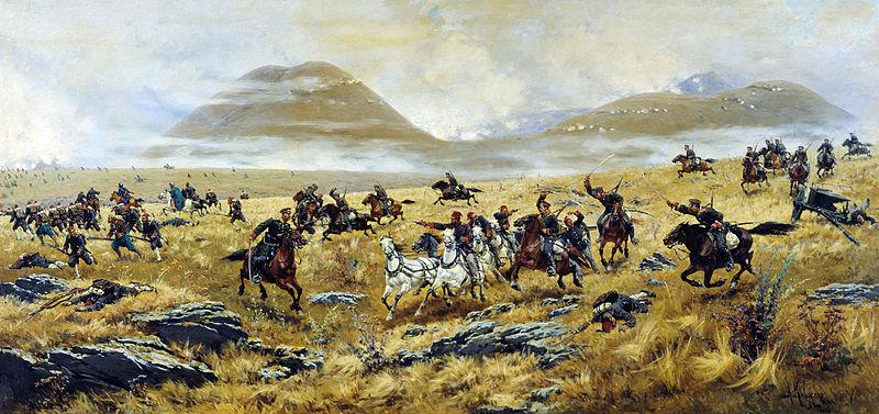 Нижегородские драгуны, преследующие турок по дороге к Карсу. Картина Алексея Кившенко