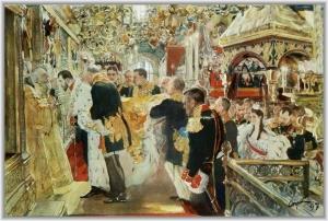 Миропомазание императора Николая Александровича. Холст, масло. Валентин Серов (1865-1911)
