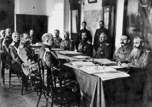 """Военный совет под председательством императора Николая II. 1 апреля 1916 года. Ист.: """"ЗАГАДКА УБИЙСТВА РАСПУТИНА. ЗАПИСКИ КНЯЗЯ ЮСУПОВА"""" (СТРАНИЦА 52)"""