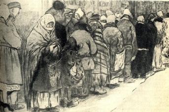 В очереди за хлебом. Первая мировая, 1914. И.А.Владимиров