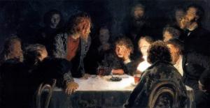 Илья Ефимович Репин: Сходка ( При свете лампы ). 1883