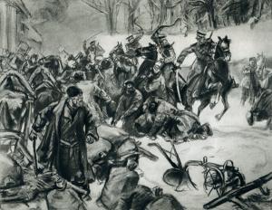 Дементий Шмаринов. Столкновение крестьян с казаками во время разгрома помещичьей усадьбы в 1905 году.