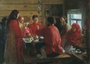 Иван Семенович Куликов. «Чаепитие в крестьянской избе», 1902 г.
