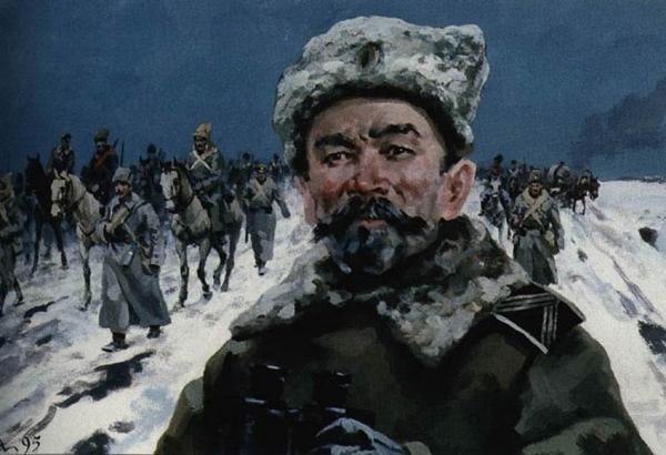 Ледяной поход. Корнилов. Фрагмент картины А. Николаева