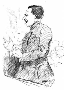 А.Ф. Керенский выступает на Государственном совещании в Москве в августе 1917 г. Рисунок Юрия Арцыбушева.