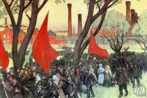 Первомайская демонстрация у Путиловского завода. 1900 г.
