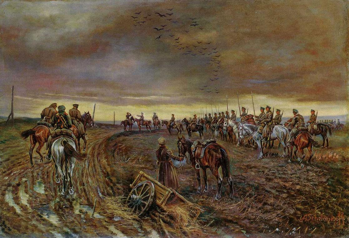 А.Шелоумов. Конница Добровольческой армии на походе.