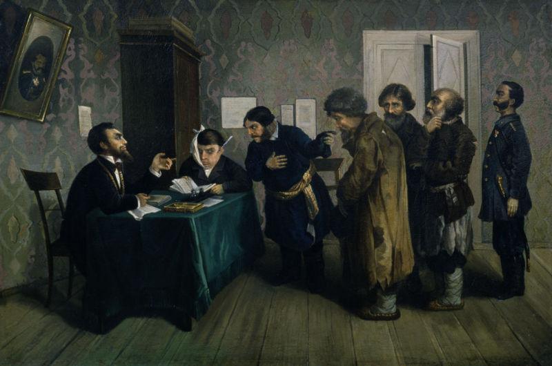 Загорский Н. П. (1849–1893) У мирового судьи в провинции. 1880