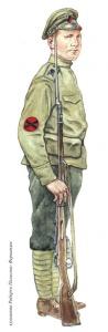 Волонтер ударного революционного батальона. Июнь - ноябрь 1917 г. Худ. Роберто Паласнес-Фернандес.