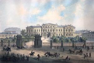Пажеский корпус. Литография по рисунку И. И. Шарлеманя, 1858.