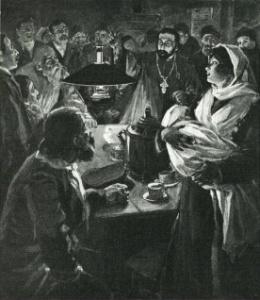 """Рисунок французского художника М. Фред. Фойта (M. Fred. Voigt), под названием """"Священник Гапон, пламенный петербургский реформатор"""", был опубликован в журнале """"La Vie illustrée"""", скорее всего, в 1905 или 1906 году. Судя по антуражу, рисунок отражает встречи кружка Гапона в первые годы его деятельности в рабочей среде (1902-1903), в чайной."""