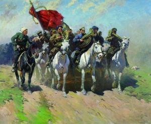 """М. Б. Греков, """"Трубачи первой конной армии"""" 1934 г. (ГТГ)"""