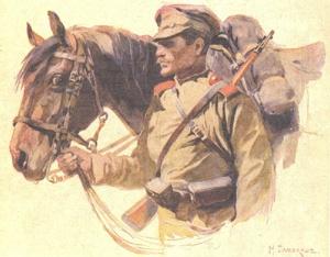 «В Галиции. Кавалерист», осень 1914, акварель Николая Самокиша