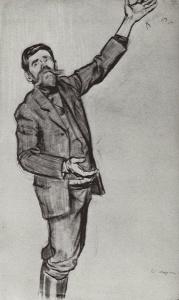 Б. Кустодиев. Агитатор (Человек с поднятой рукой). 1906 г.