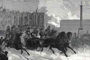 Выезд императора Александра III из Зимнего дворца. Ксилография. 1880-е гг.