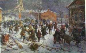 Бой у Горбатого моста на Пресне. Декабрь 1905 г. Картина Г. К. Савицкого.