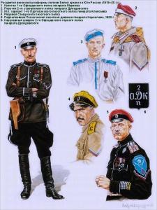 Расцветки воинской униформы полков Белой армии Юга России(1919 -1920 г.г.) Рисунки Андрея Каращука.