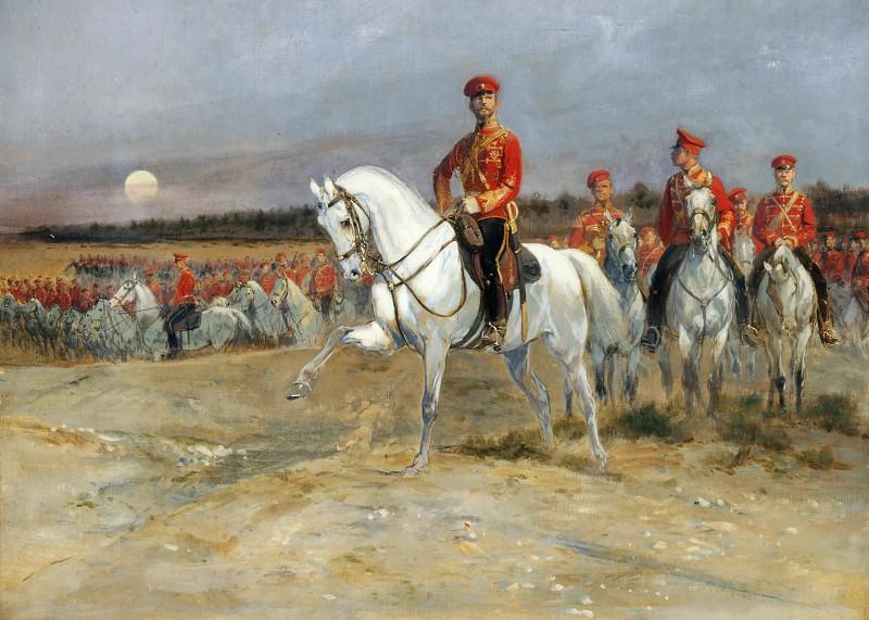 Жан-Батист-Эдуар Детай -- Смотр войск Николаем II.