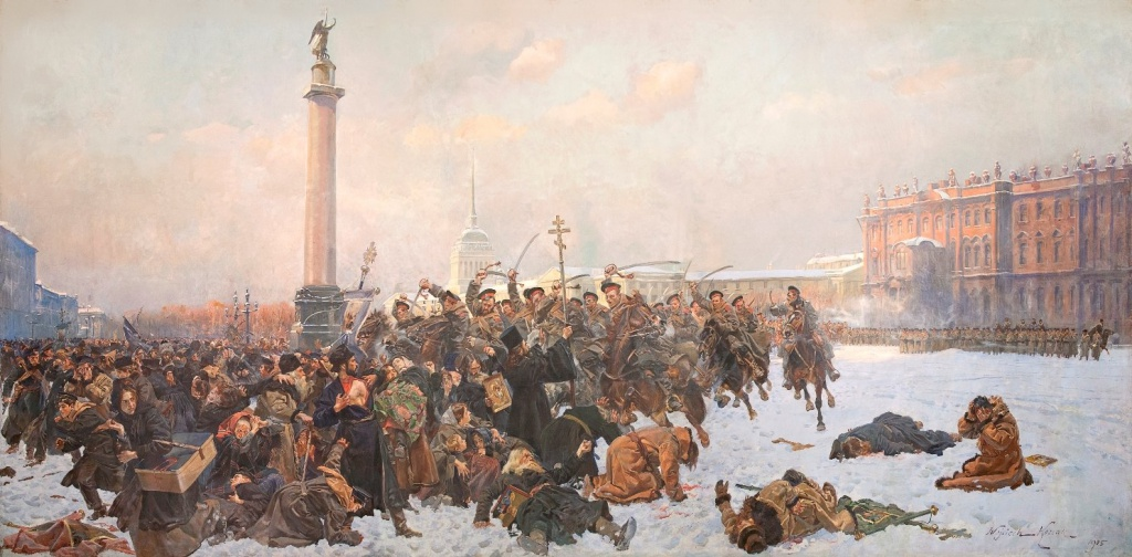 """Войцех Коссак (1857-1942), картина """"Krwawa niedziela. 1905"""" (в русском названии """"Кровавое воскресенье в Петербурге 22 января 1905 года"""")."""