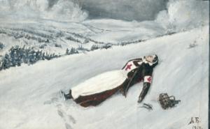 """Этюд. """"Труп медицинской сестры, умершей на боевом посту от тяжелого ранения.1914 г."""" Художник А. Беликов. 1914 г. Холст.Масло."""