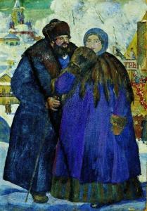 Купец с купчихой. Борис Кустодиев. 1914.