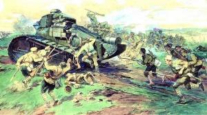 Захват врангелевских танков в Таврии. Художник Н.С. Самокиш