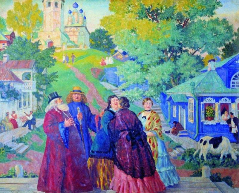 Борис Кустодиев. Встреча (Пасхальный день). 1917