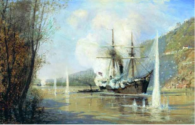 А.П. Боголюбов. Атака турецкого парохода миноносной лодкой «Шутка» 16 июня 1877 года. Не ранее 1881. Холст, масло.