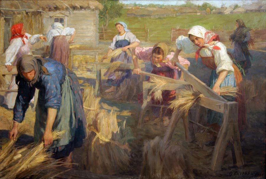 «Мяльщицы льна» – художник Ф.В. Сычков. 1905г.