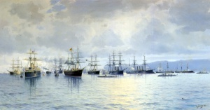 Смотр кораблей Балтийского флотаХудожник Л. Д. Блинов, 1888 г.