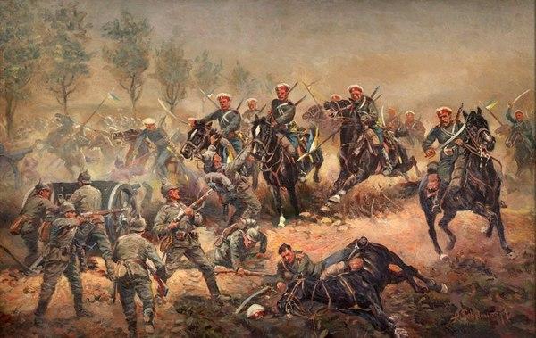 А.Шелоумов. Атака П.Н.Врангеля с эскадроном Лейб-гв. Конного полка на германскую батарею 6 августа 1914 г.