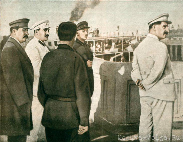 Товарищ Сталин на Перервинском шлюзе канала Москва-Волга 14 июня 1936 года. На снимке: товарищи Сталин, Каганович, Ягода, Орджоникидзе и инженер Кочегаров. Фото Н.Власика.