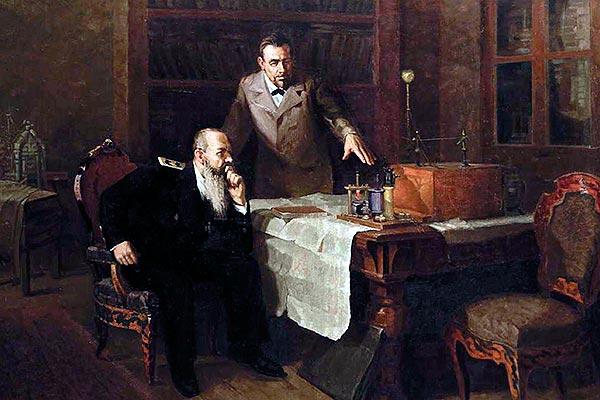 Попов демонстрирует адмиралу Макарову радиоустановку. Сорокин Иван Семенович, 1910 - 1986
