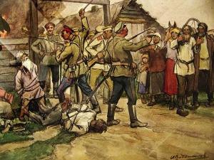 Наказание перебежчиков. гражданская война 1918. Худ. И. Владимиров