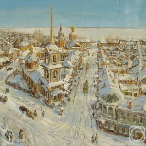 Тихомиров Андрей. Саратов старый. холст/масло 70см x 70см 2010 г.