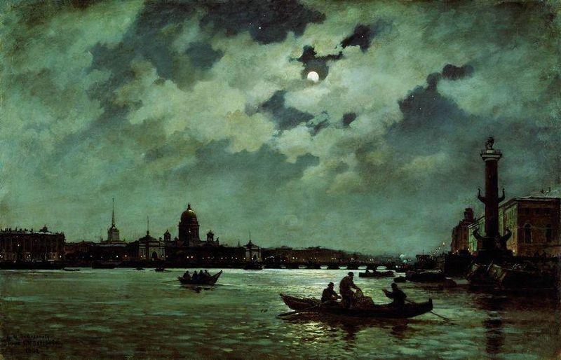 А.К. Беггров. Лунная ночь на Неве. 1882