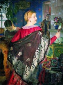 Борис Кустодиев. Купчиха с зеркалом. 1920