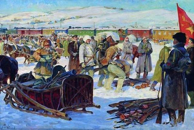 Разоружение частей Колчаковской армии. Авилов Михаил Иванович (1882 — 1954)., 1926 (Центральный музей Вооруженных Сил)