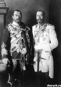 Император Всероссийский Николай II и Король Великобритании Георг V. 1913 год. Источник: http://diaryrh.ru/historical-photos/emperor-nicholas-ii-part-2/ © Дневник Истории России
