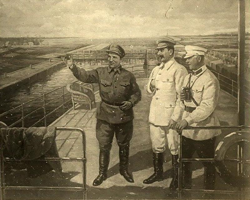 Сталин, Ворошилов, Киров осматривают Беломорско-Балтийский канал