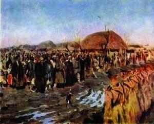 Бунт в деревне. Картина С.В. Иванова